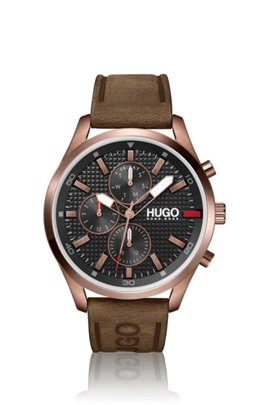 Knurling-dial watch with brown leather logo strap, Assorted-Pre-Pack
