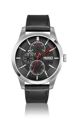 Leather-strap watch with carbon-fibre-effect dial, Assorted-Pre-Pack