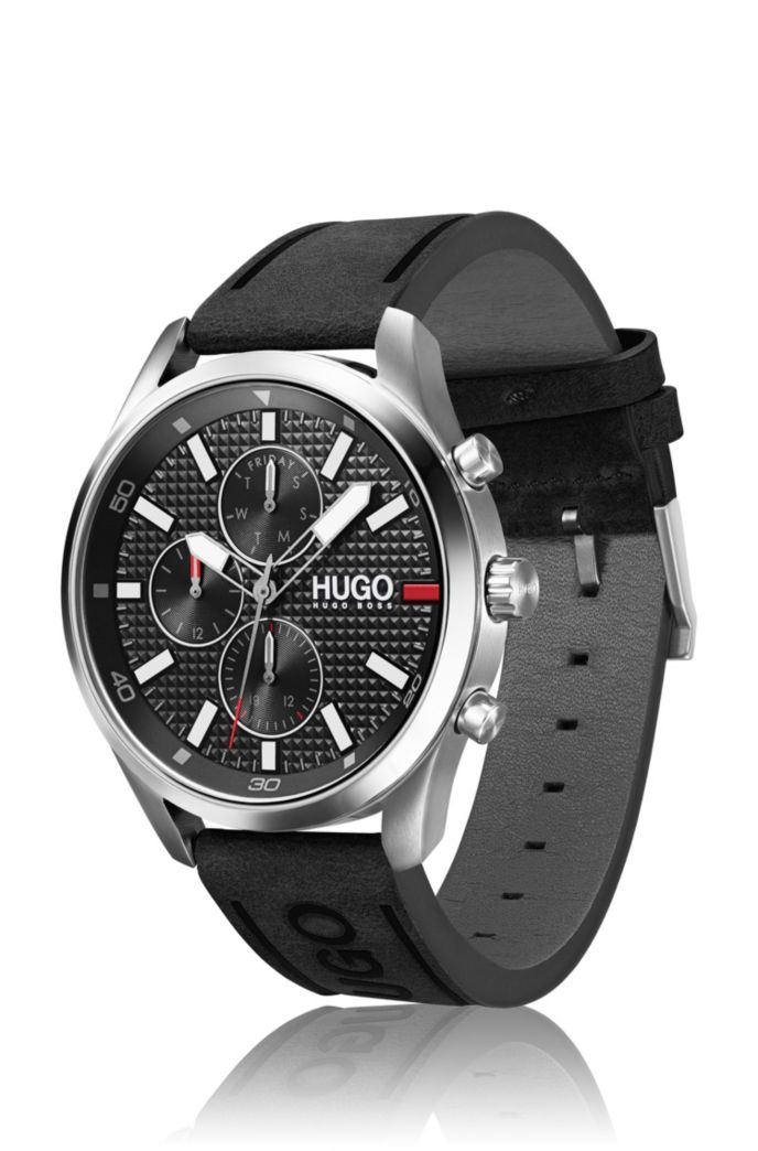 Knurling-dial watch with black leather logo strap