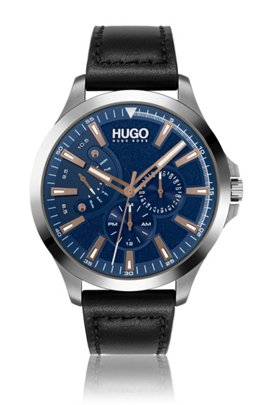 Black-leather-strap watch with textured blue dial, Assorted-Pre-Pack