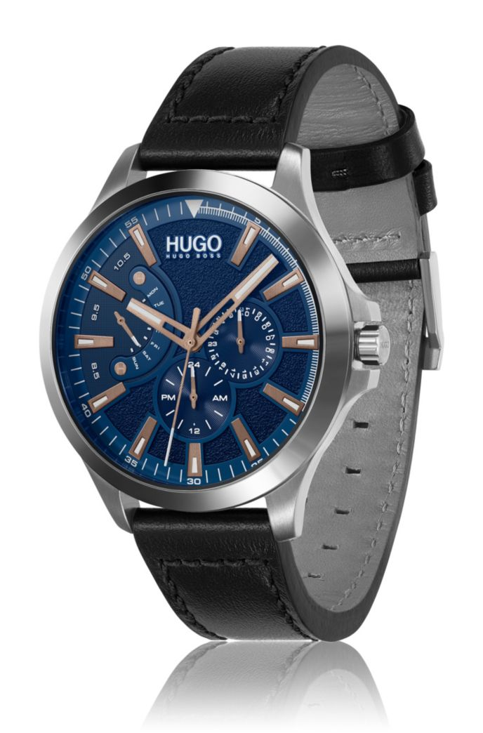 Black-leather-strap watch with textured blue dial