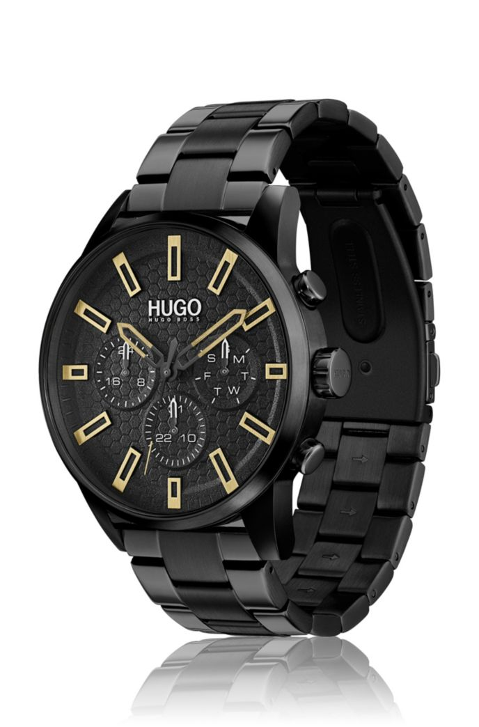 Honeycomb-dial watch in black-plated steel