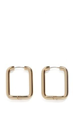 Boucles d'oreilles carrées en acier inoxydable doré, Or