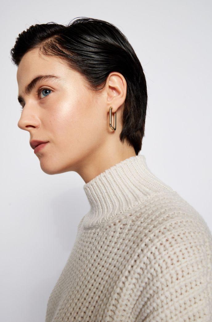 Boucles d'oreilles carrées en acier inoxydable doré