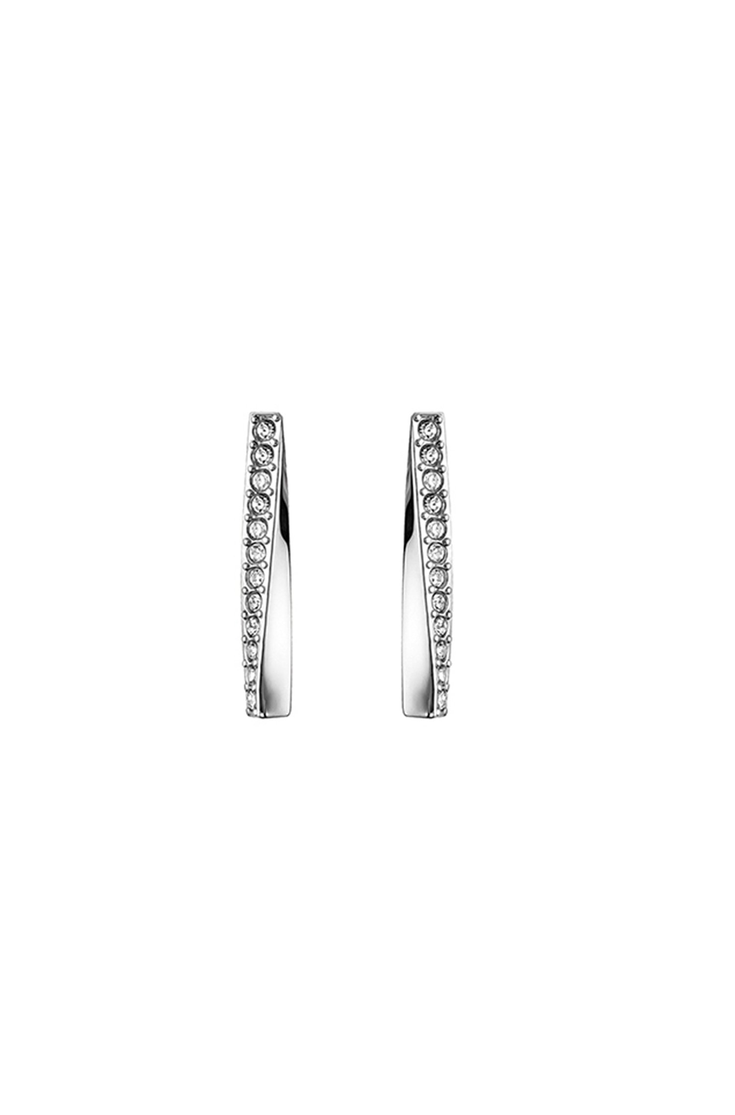 Twisted-bar earrings in stainless steel with crystals, Assorted-Pre-Pack