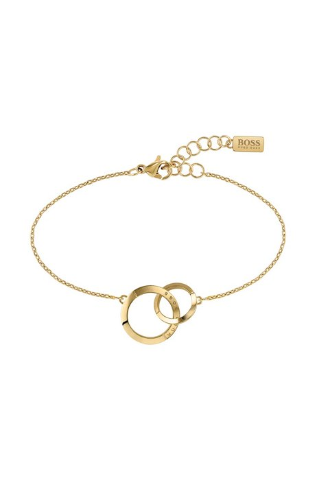 Linked-ring bracelet with gold finish and crystals, Assorted-Pre-Pack