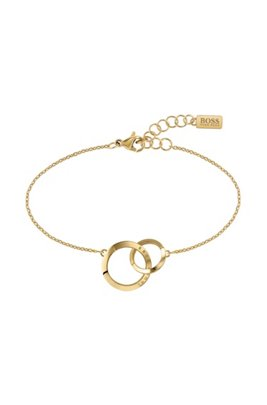 Linked-ring bracelet with gold finish and Swarovski® crystals, Assorted-Pre-Pack