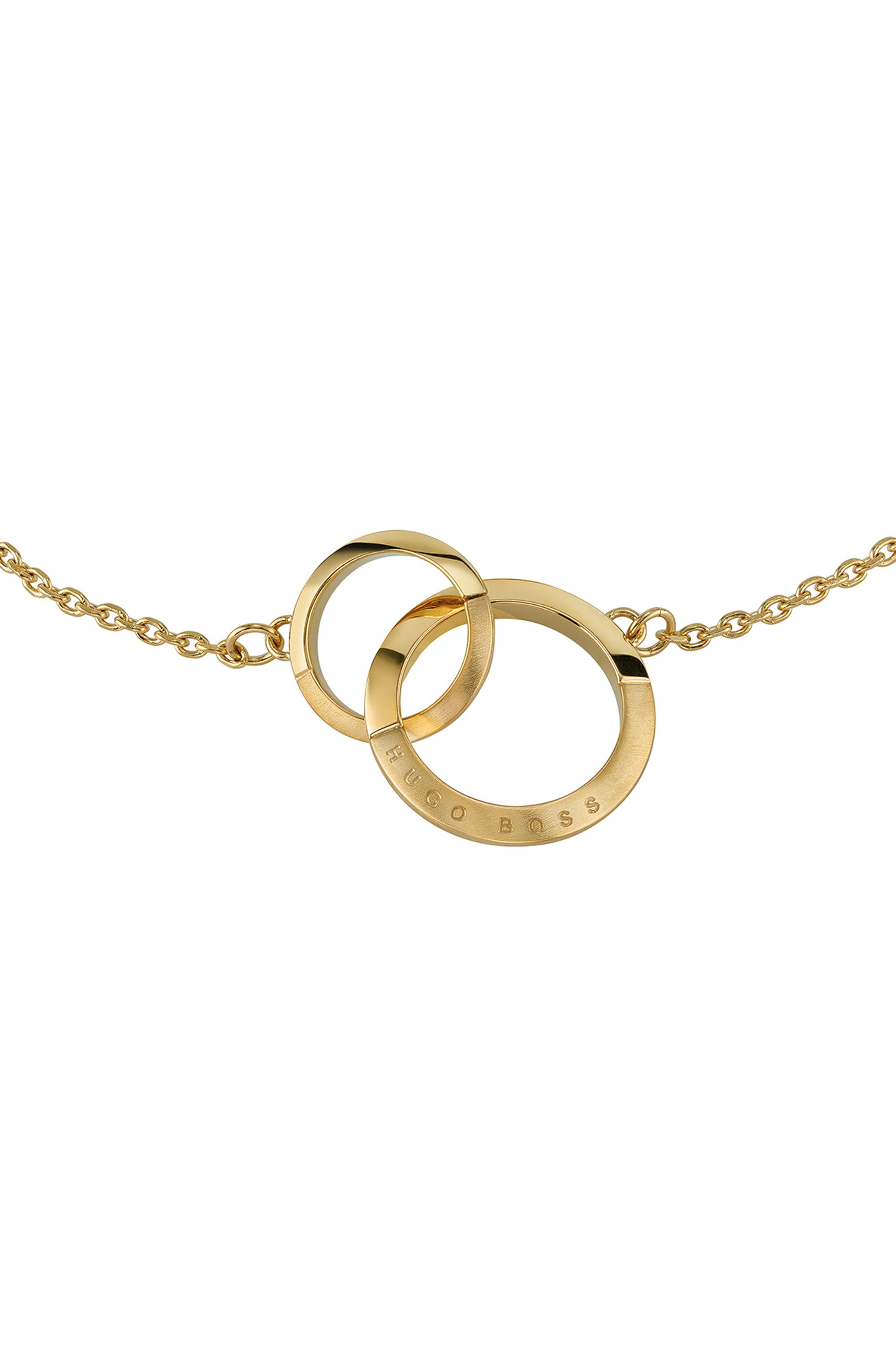 Linked-ring bracelet with gold finish and crystals