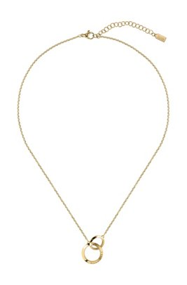 Linked-ring necklace with gold finish and crystals, Assorted-Pre-Pack
