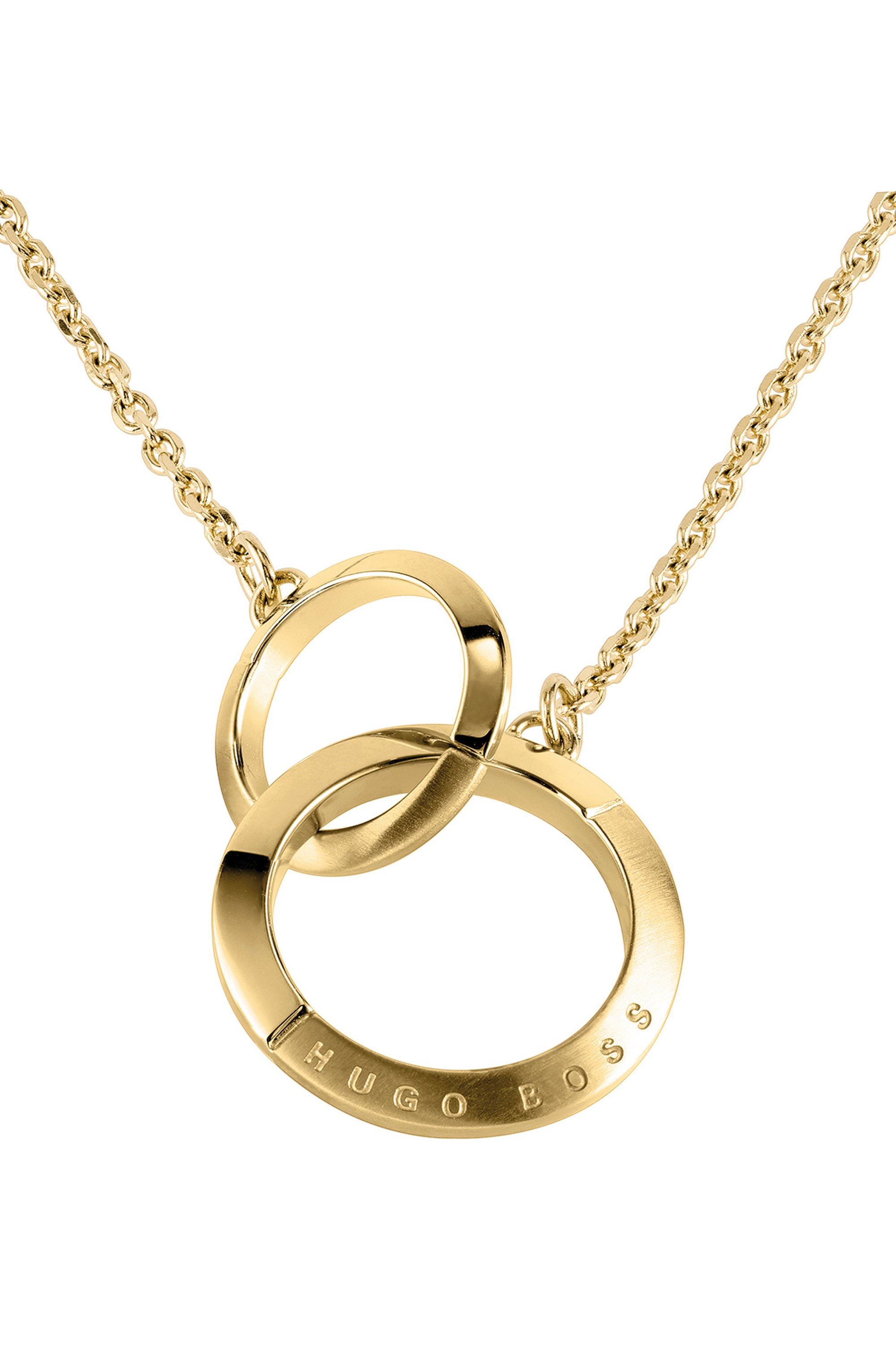 Linked-ring necklace with gold finish and crystals