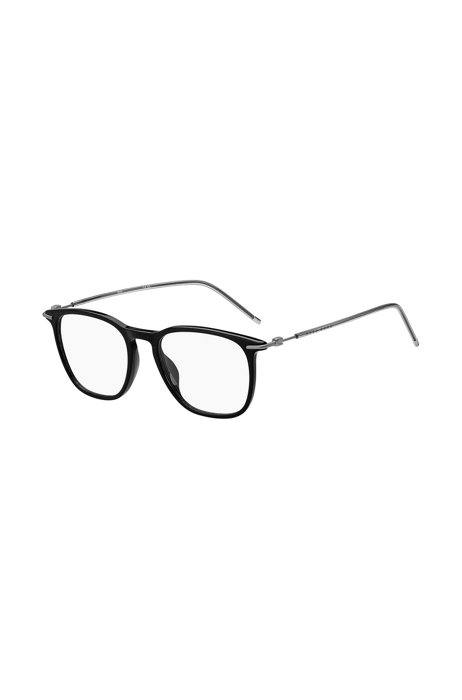 Black-acetate optical frames with lasered logos, Assorted-Pre-Pack