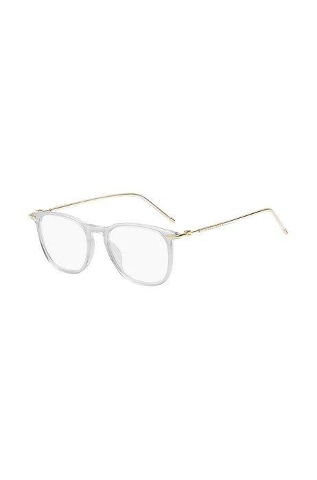 Brillenfassung aus transparentem Acetat mit goldfarbenen Bügeln, Assorted-Pre-Pack