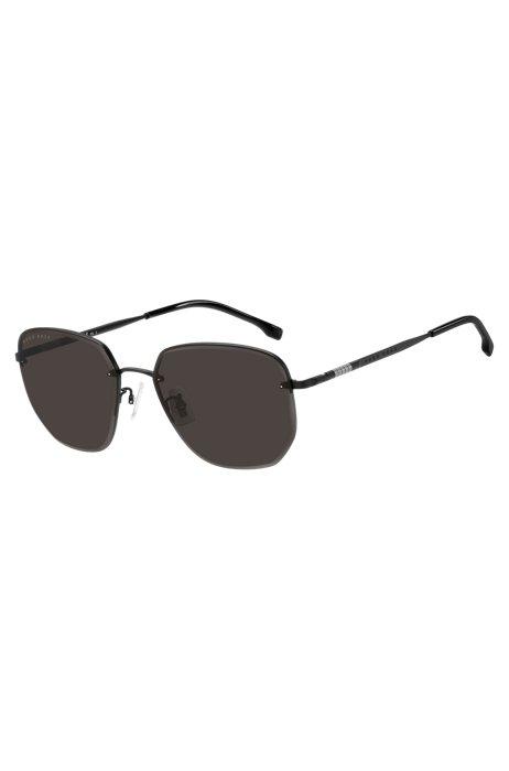 Halbrand-Sonnenbrille aus schwarzem Titan und Metall, Assorted-Pre-Pack