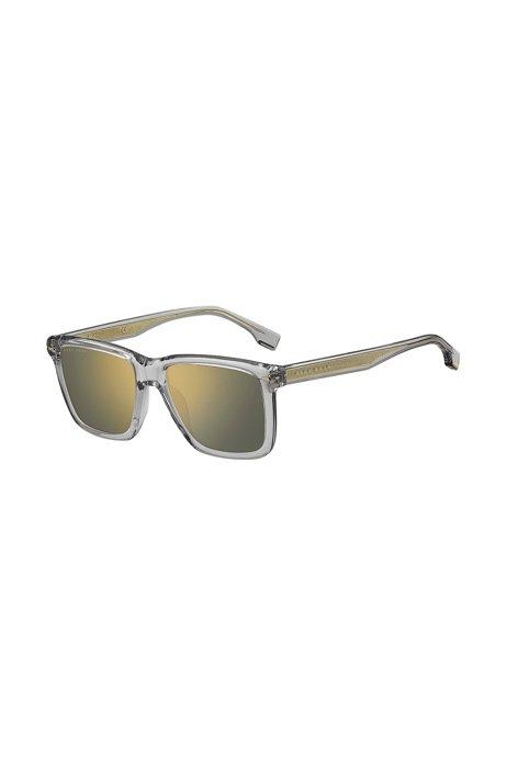 Sonnenbrille aus transparentem Acetat mit goldfarbenen Akzenten, Assorted-Pre-Pack