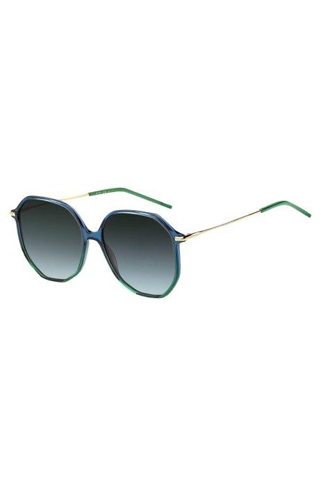 Occhiali da sole con aste tubolari e frontale blu-verde, Assorted-Pre-Pack
