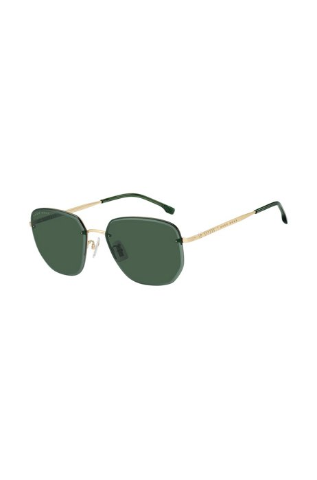 Grüne Sonnenbrille mit Halbrand und goldfarbenen Bügeln, Assorted-Pre-Pack