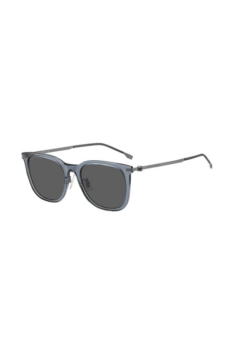 Branded-temple sunglasses in blue acetate, Assorted-Pre-Pack