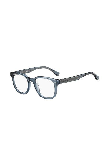 Occhiali da vista in acetato blu con dettagli color argento, Assorted-Pre-Pack