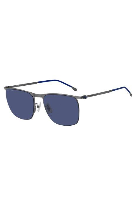Occhiali da sole in acciaio con lenti e dettagli blu, Assorted-Pre-Pack