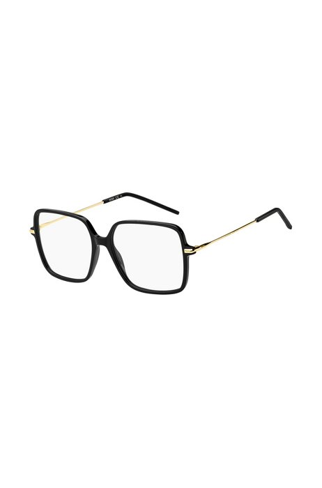 Monture optique dorée avec face en acétate noir, Assorted-Pre-Pack