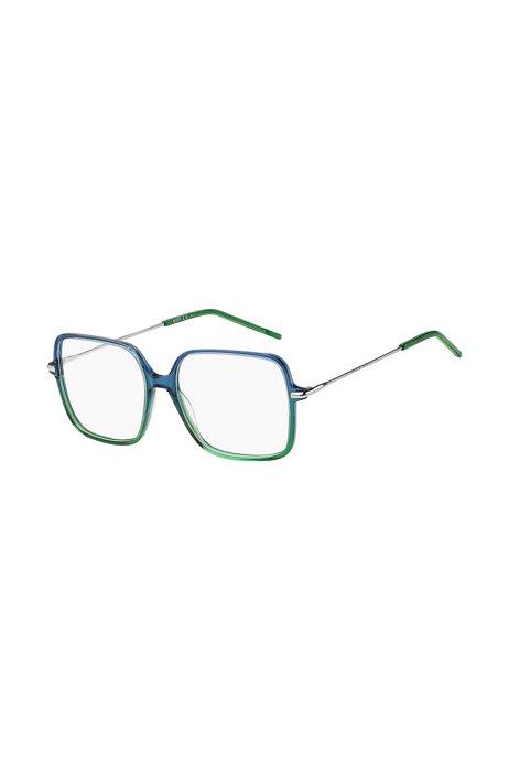 Brillenfassung mit röhrenförmigen Bügeln und grün-blauer Vorderseite, Assorted-Pre-Pack