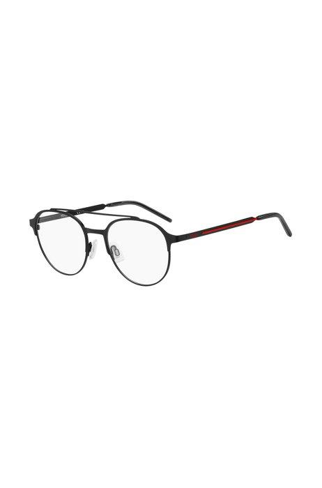 Monture optique en acier noir avec ligne rouge, Assorted-Pre-Pack