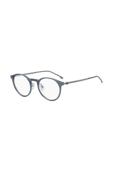 Brillenfassung aus blauem Acetat mit gelaserten Logos, Assorted-Pre-Pack
