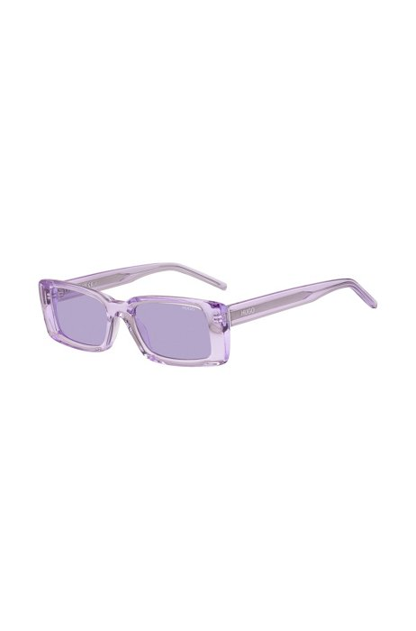 Purple-acetate sunglasses with contrast logos, Assorted-Pre-Pack