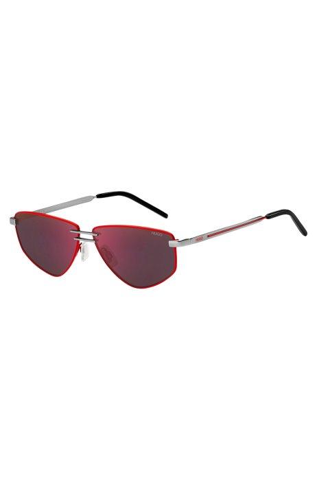 Occhiali da sole con doppio ponte e frontale rosso, Assorted-Pre-Pack