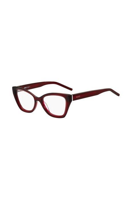 Montura para gafas graduadas de acetato rojo con logos en las patillas, Assorted-Pre-Pack