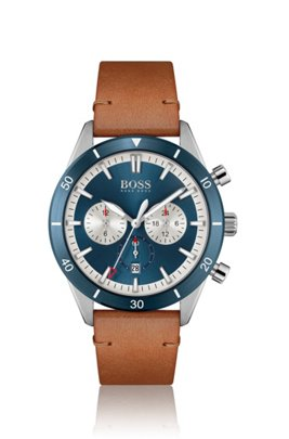 Blue-bezel multi-eye watch with leather strap, Assorted-Pre-Pack
