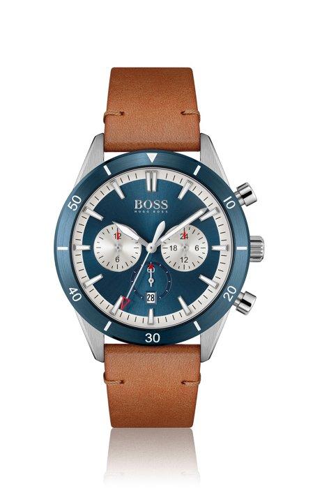 Reloj con correa de piel, bisel azul y múltiples esferas, Assorted-Pre-Pack