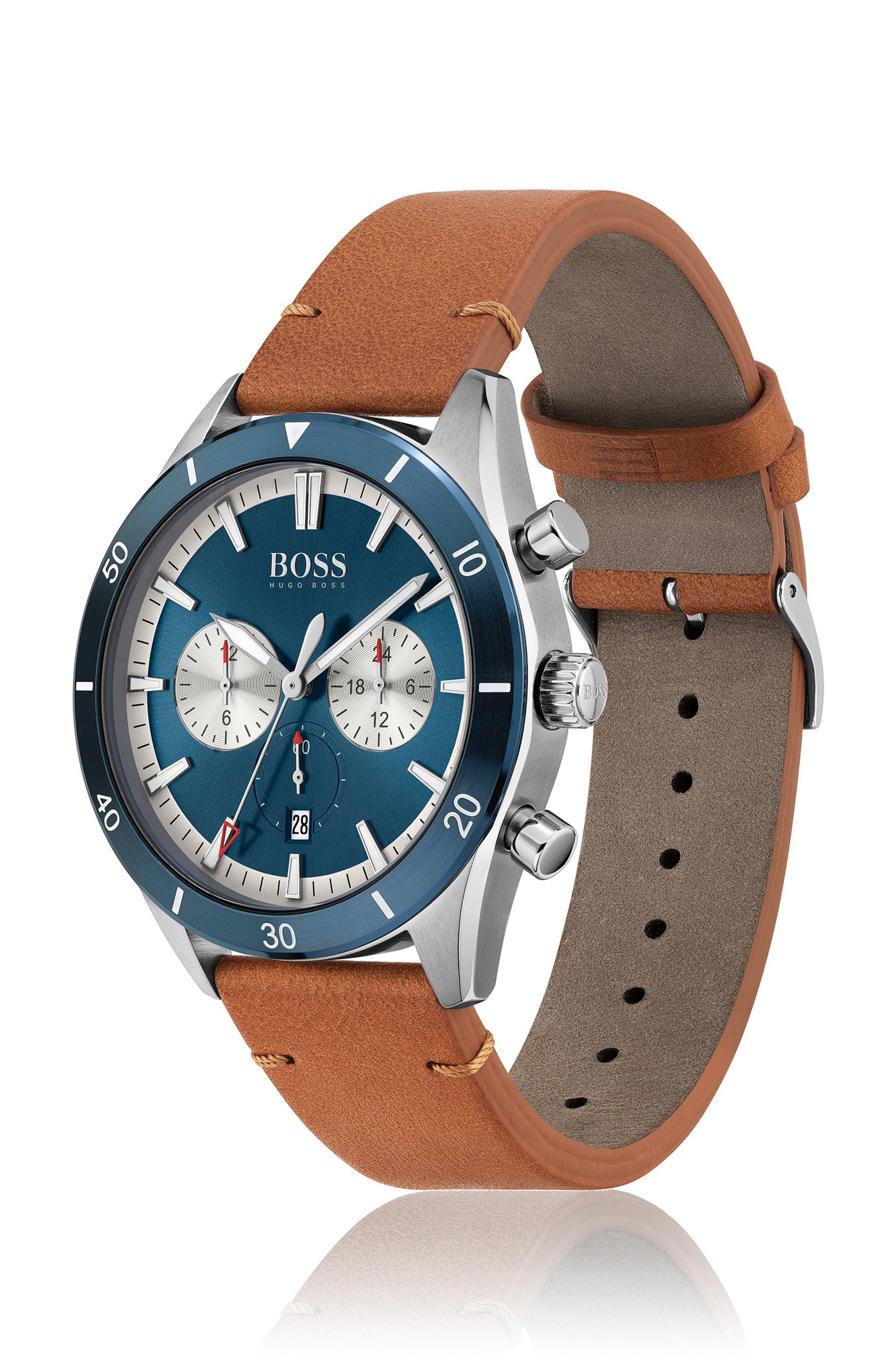 Uhr mit blauer Lünette, Totalisatoren und Lederarmband