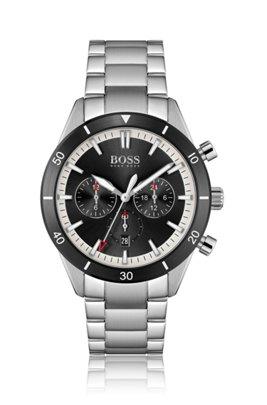 Black-bezel multi-eye watch with link bracelet, Assorted-Pre-Pack