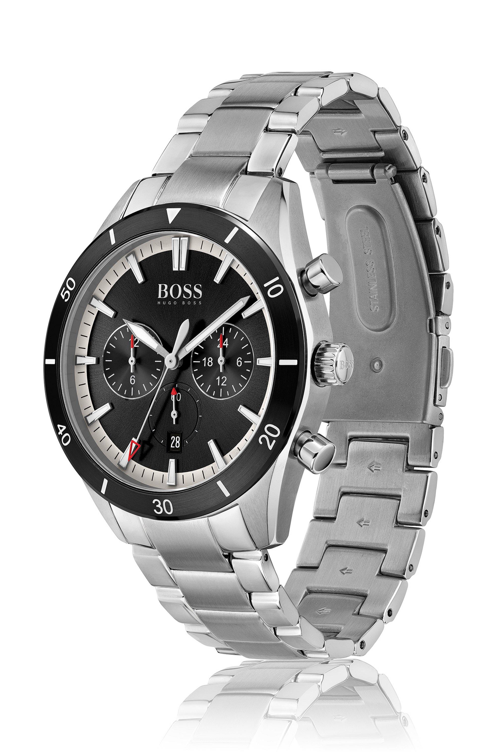 Black-bezel multi-eye watch with link bracelet