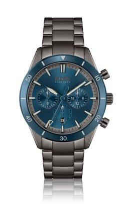 Blue-bezel multi-eye watch with link bracelet, Assorted-Pre-Pack