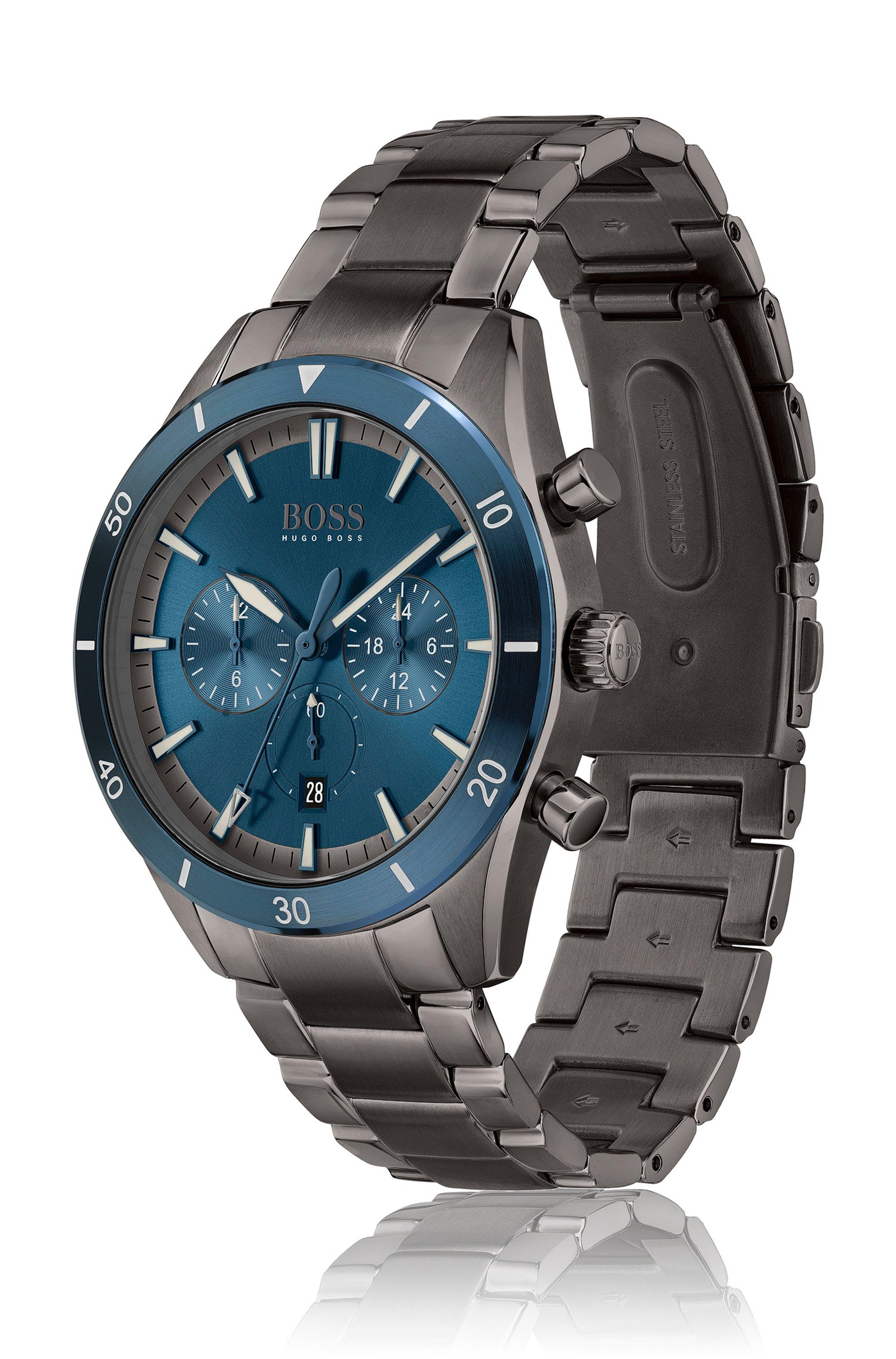 Blue-bezel multi-eye watch with link bracelet