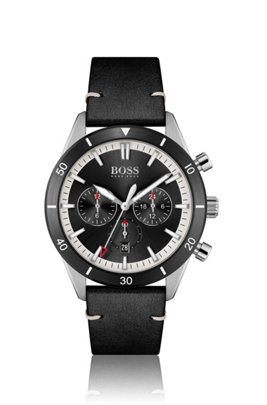 Black-bezel multi-eye watch with leather strap, Assorted-Pre-Pack