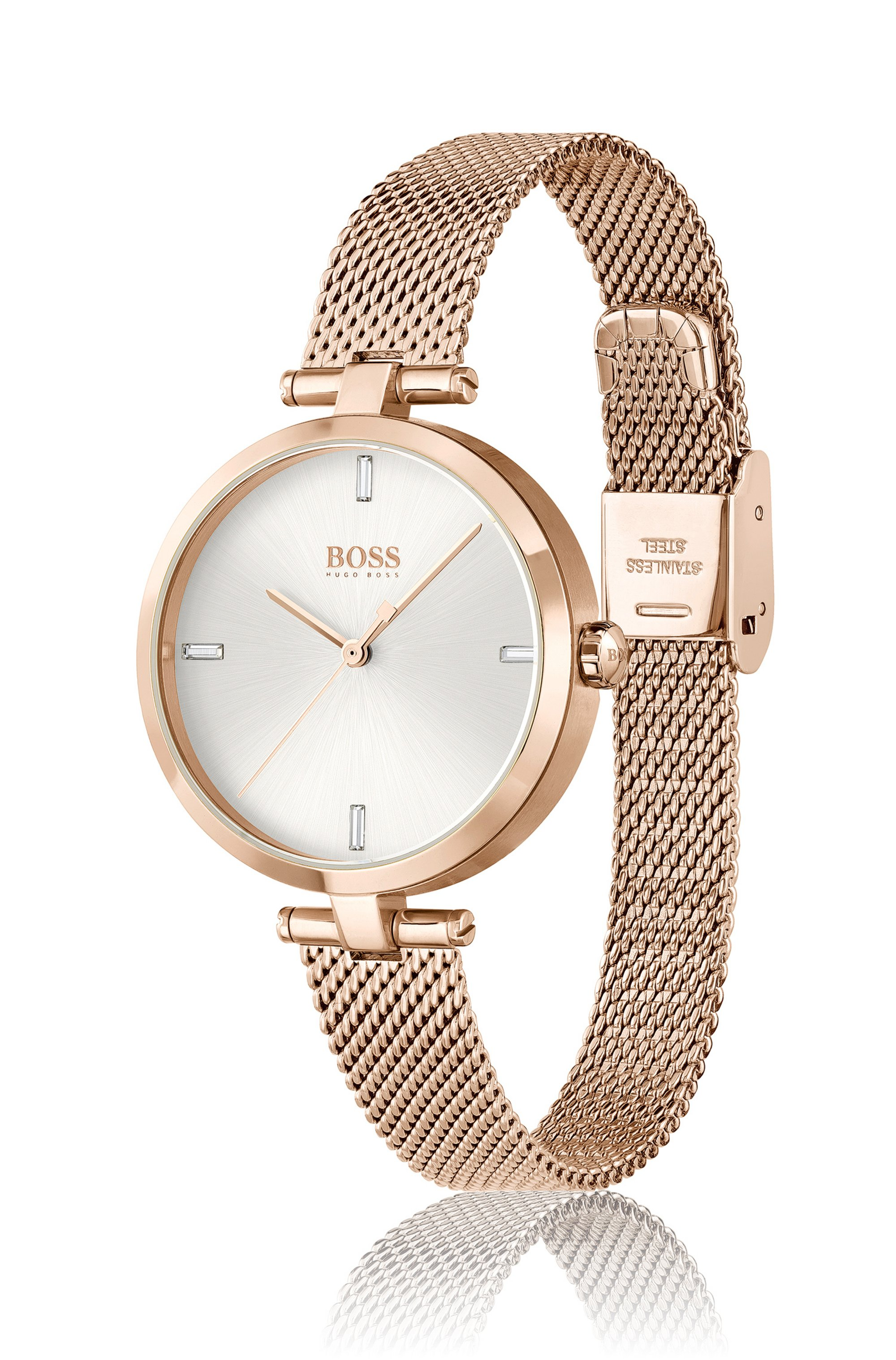 Carnation-gold-effect watch with crystal indexes