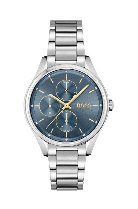 Horloge met blauwe wijzerplaat, kristallen en geschakelde polsband, Assorted-Pre-Pack