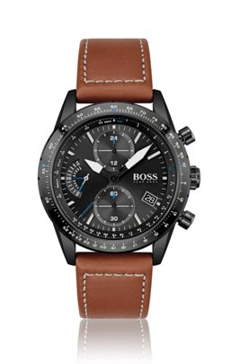 Black-plated chronograph watch with stitched leather strap, Assorted-Pre-Pack