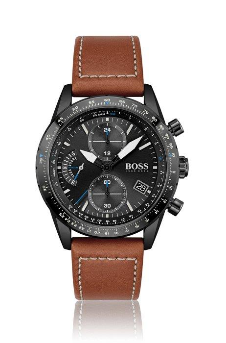Cronografo placcato blu con cinturino in pelle impunturato, Assorted-Pre-Pack
