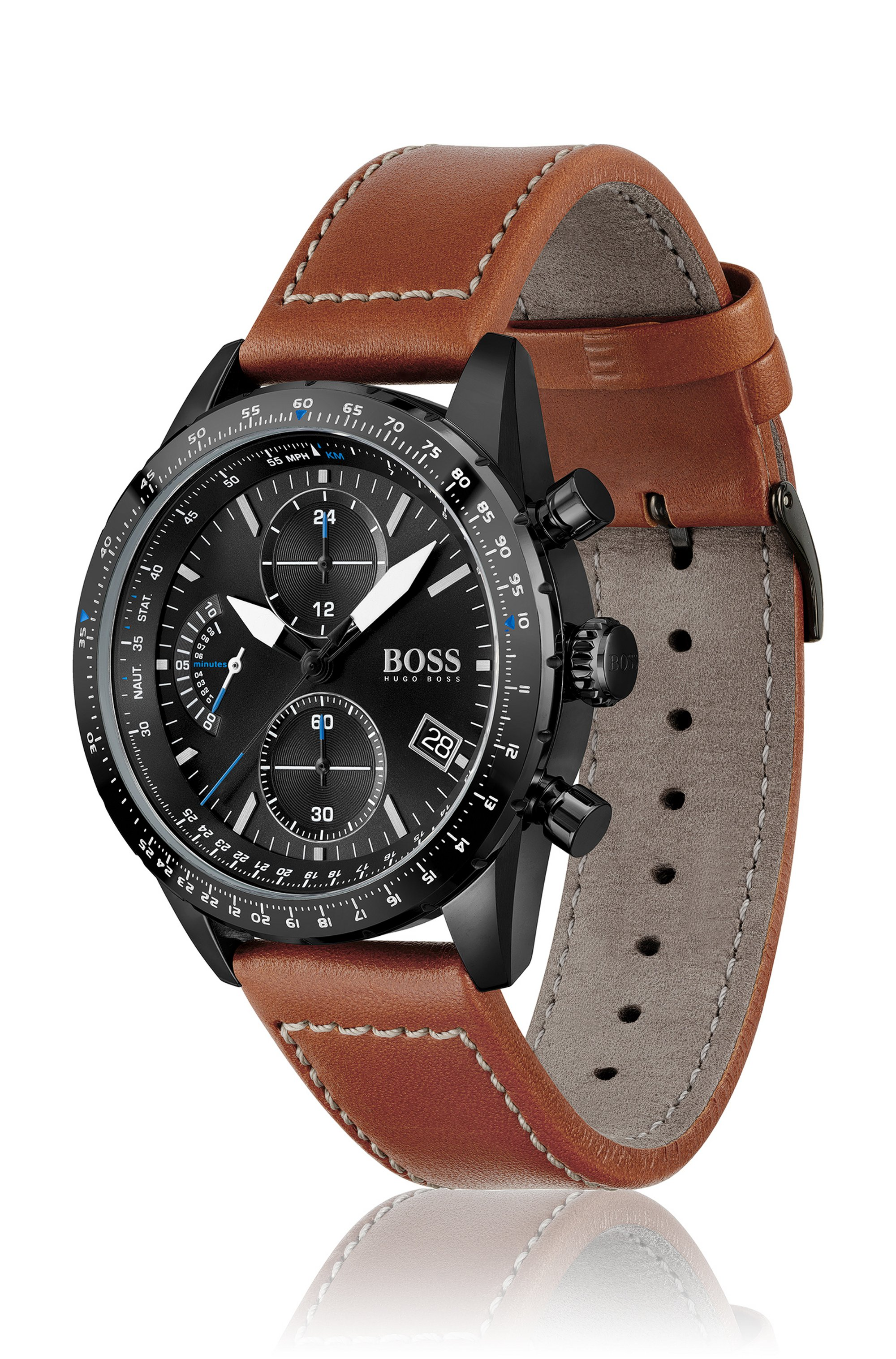 Black-plated chronograph watch with stitched leather strap