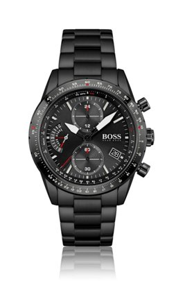 Black-plated chronograph watch with link bracelet, Assorted-Pre-Pack