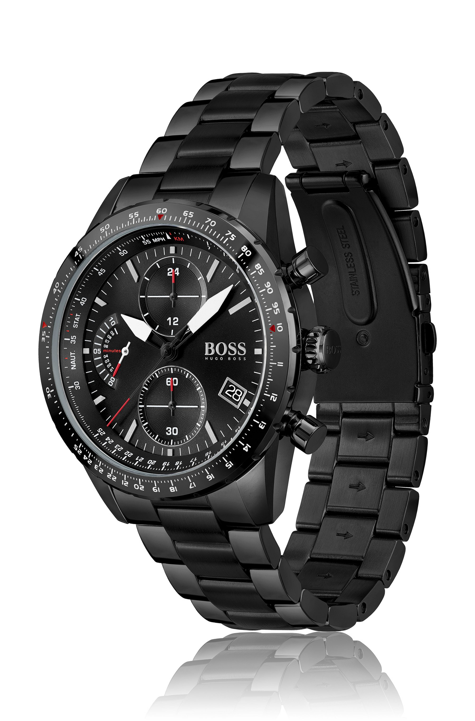 Black-plated chronograph watch with link bracelet