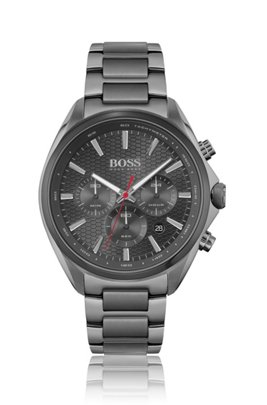 Grey-plated chronograph watch with honeycomb dial, Assorted-Pre-Pack
