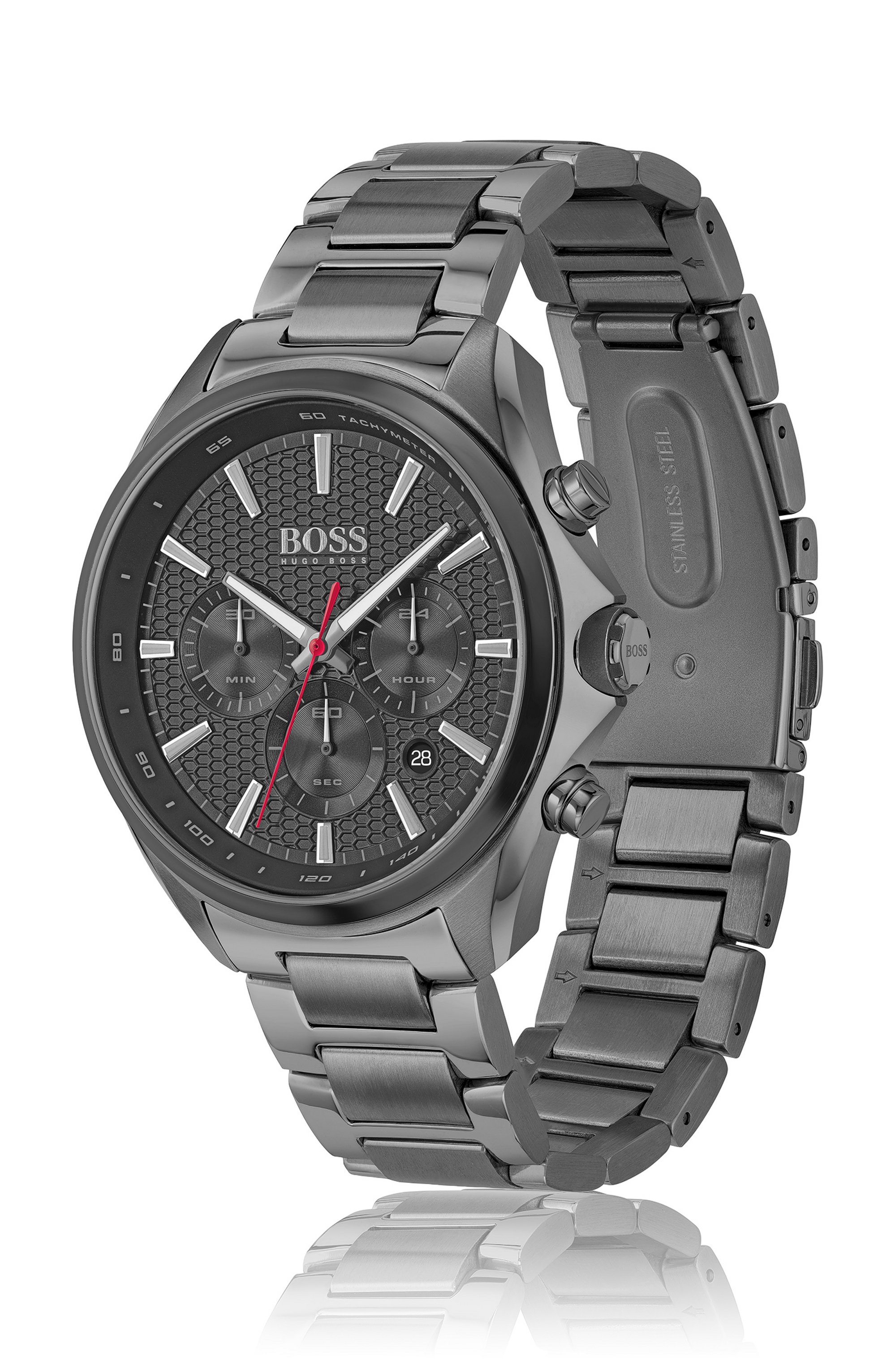 Grey-plated chronograph watch with honeycomb dial