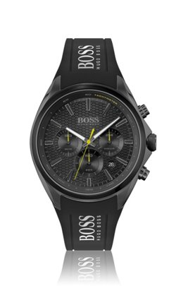 Black-plated chronograph watch with silicone strap, Assorted-Pre-Pack