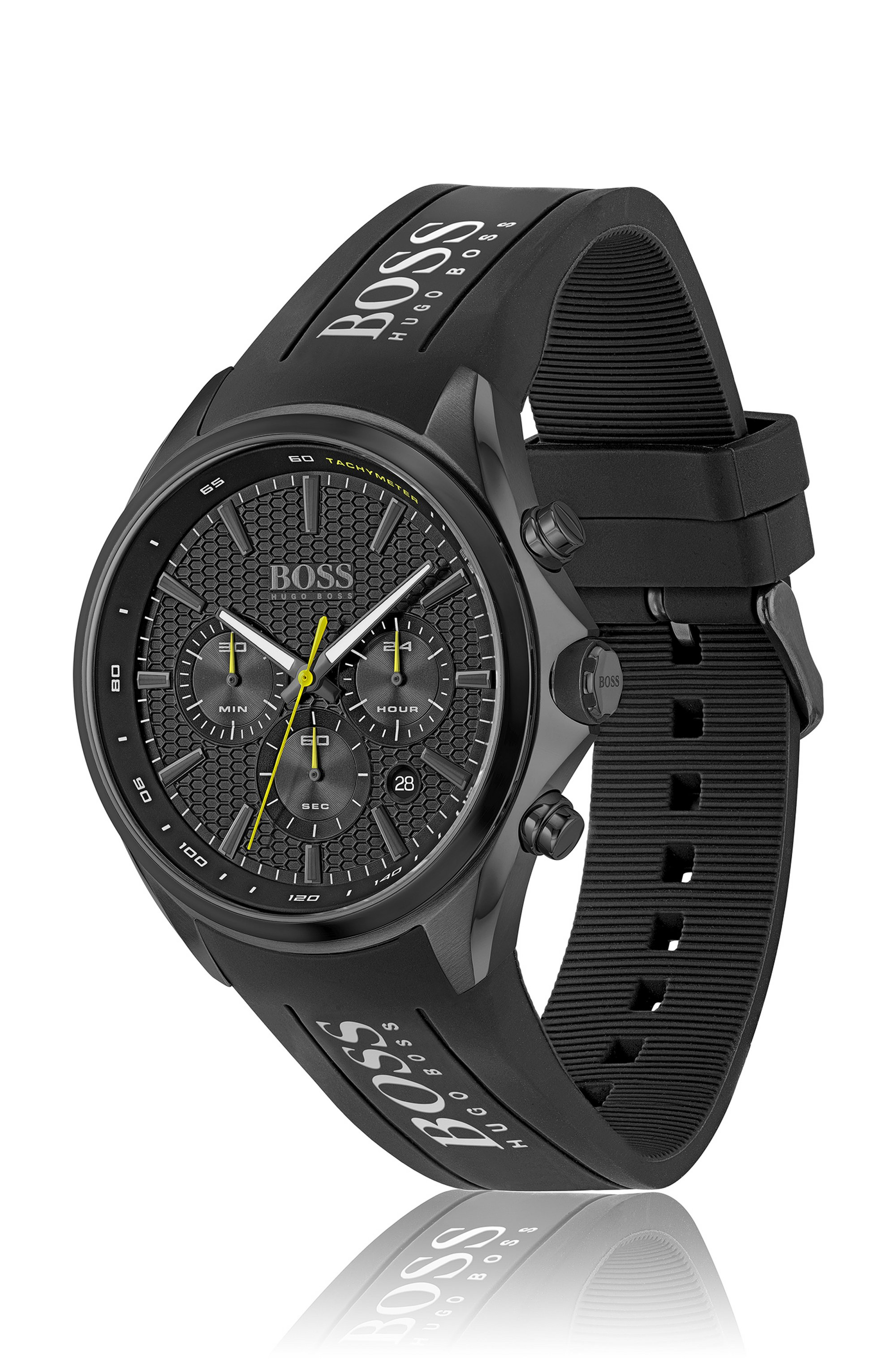 Black-plated chronograph watch with silicone strap