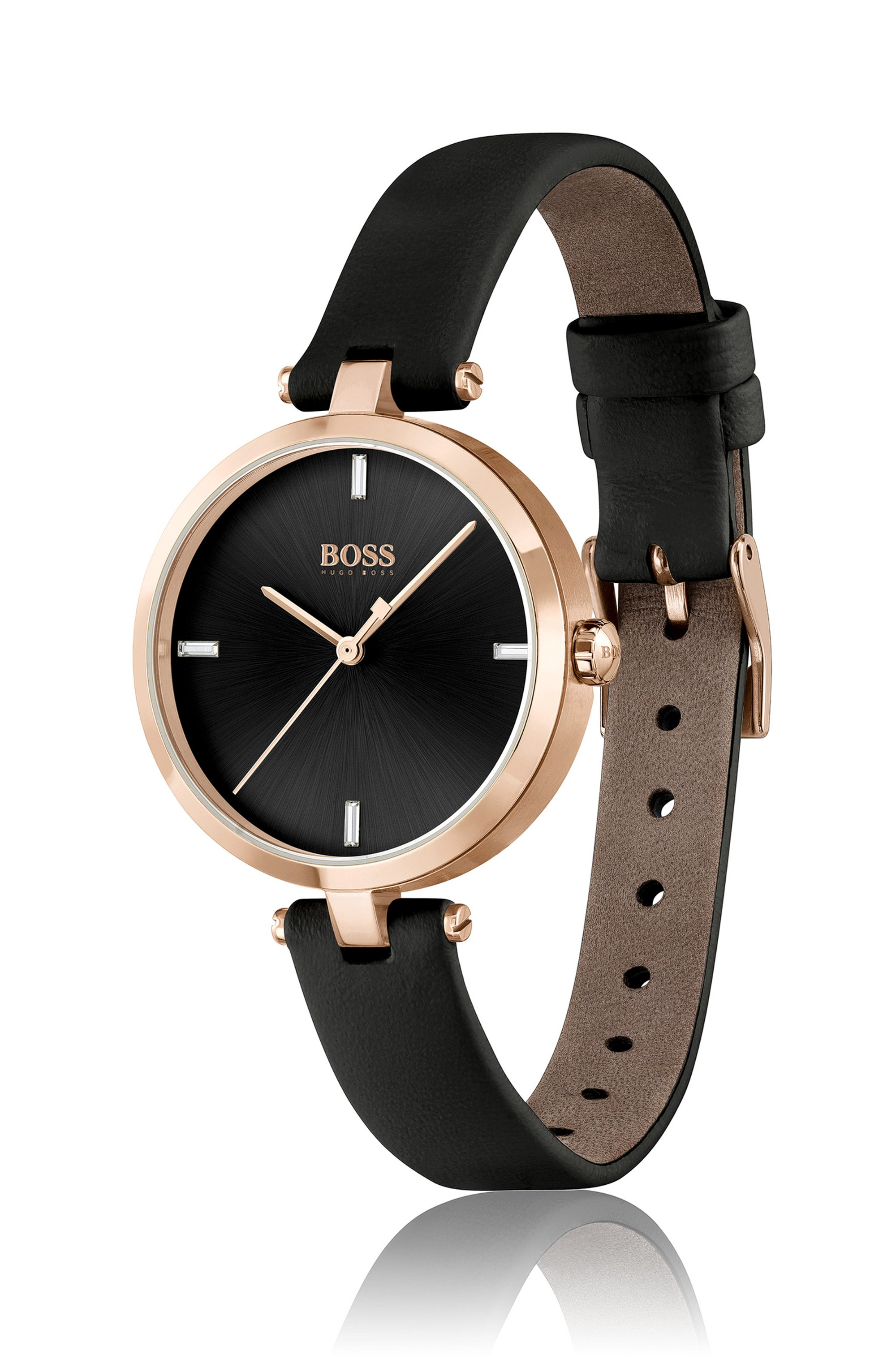 Gold-effect watch with black leather strap
